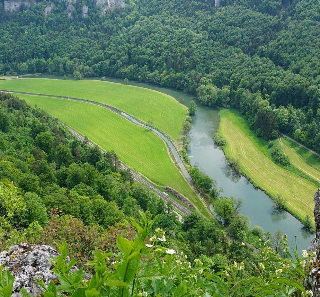 Die Donau fließt durch ein Tal umgeben von Wäldern.