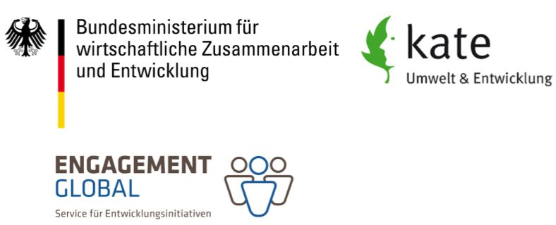Logo von Engagement Global, Bundesministerium für wirtschaftliche Zusammenarbeit und Entwicklung, kate