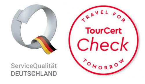 Logos ServiceQualität Deutschland und TourCert Check