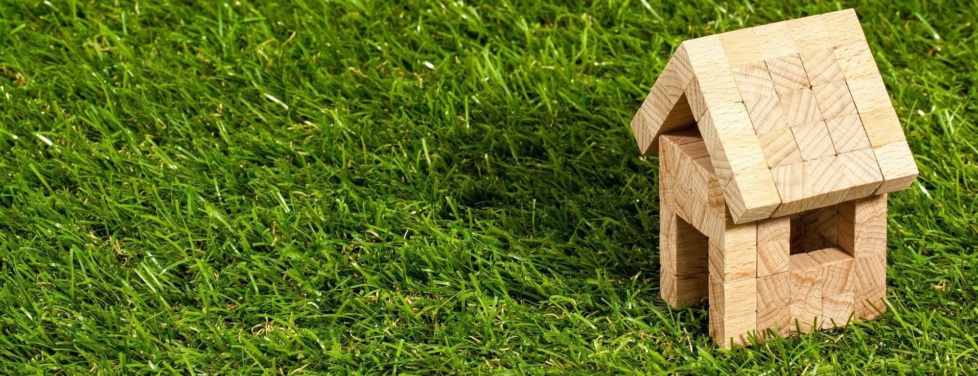 Kleines Holzhaus auf grüner Wiese.