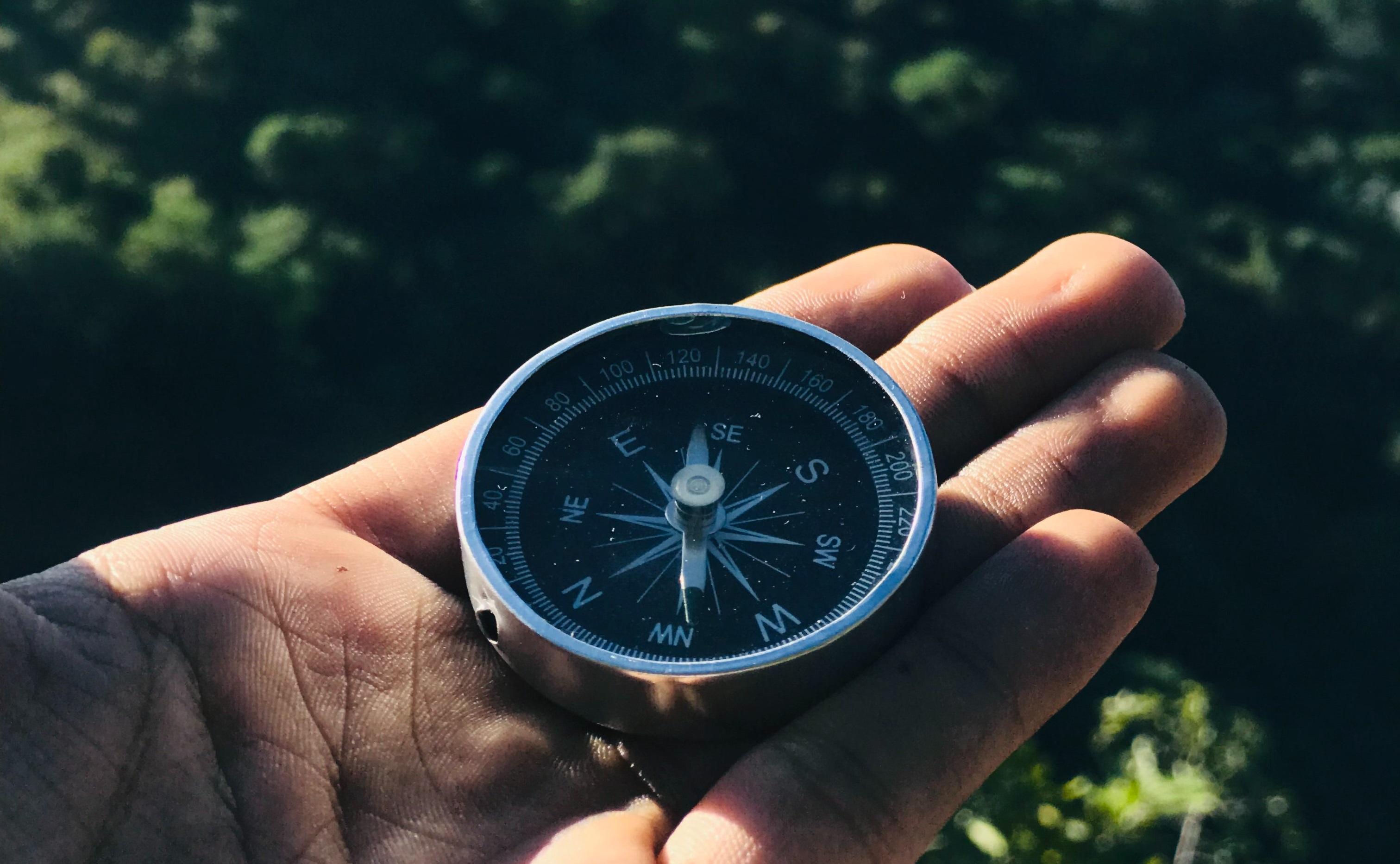 Ein Kompass liegt auf der Hand eines Menschen in der Natur.