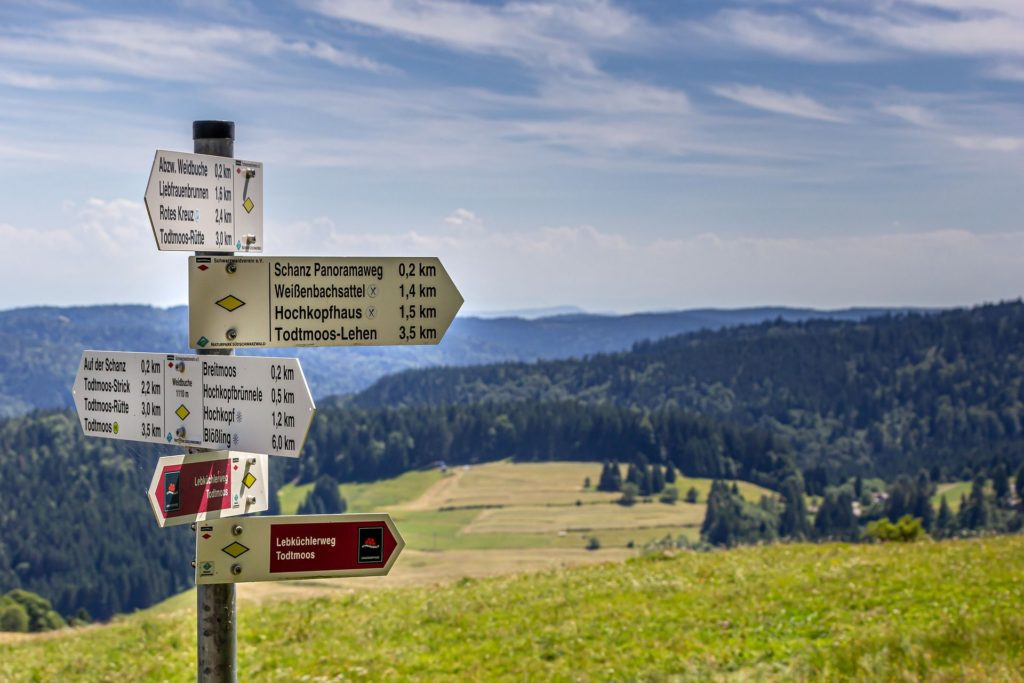 Hiking signpost in front of Black Forest landscape
