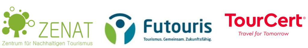 Die Logos von TourCert gGmbh, ZENAT, Futouris e.V.