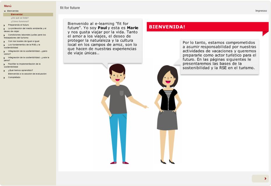 Una captura de pantalla de la segunda página de e-learning.