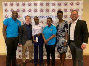 Kick-Off des Tourism Excellence Uganda Projekts mit dem Team von AUTO, STTA mit Judy Kepher-Gona (zweite von rechts) sowie Marco Giraldo (rechts) und Martin Balaš (zweiter von links) von TourCert © TourCert
